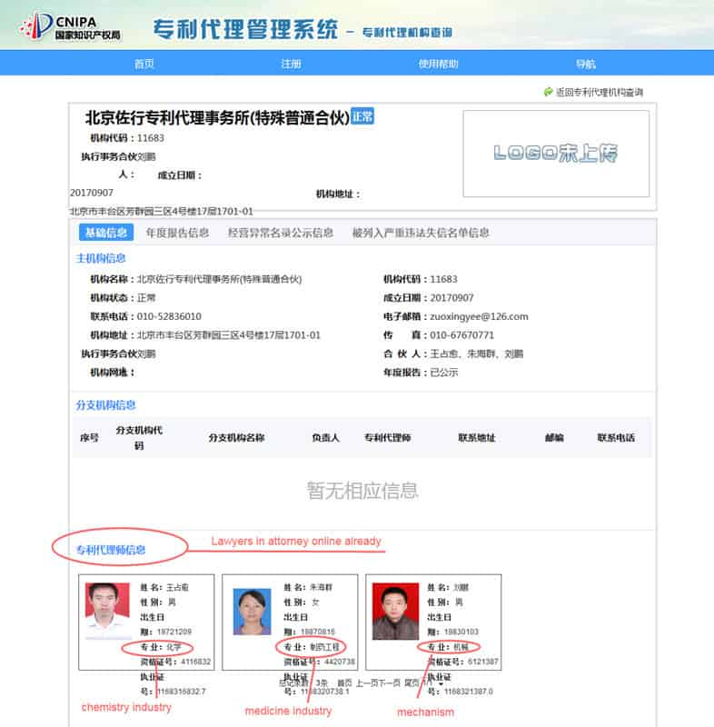 details for Chinese IP patent office, lawyers contact info